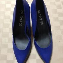 Aldo Pumps Size 38.5 Us 8 Stilettos 4 High Heels Almond Closed Toe Shoes Blue Photo