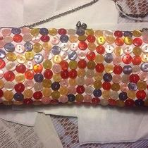 Aldo Purse Clutch Tote W Multi Color Mother of Pearl Buttons Prom Formal Vintage Photo