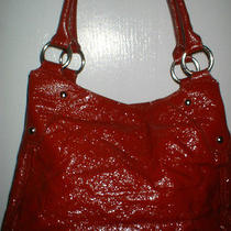 Aldo Red Crinkle Patent Leather Handbag Fun Red & White Lining Photo