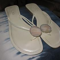 Aldo Sandal White With Mother of Pearl or Abalone Shell Disc Accent 39 Photo