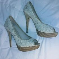 Aldo Scharer Heels 39 B White Lace Wood Heels Photo