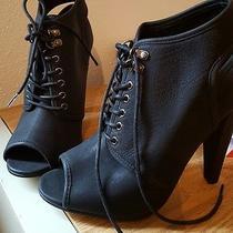 Aldo Shoes Black Lace Up Sling Back Ankle Boots Booties Size 7 Euc Photo