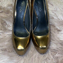 Aldo Shoes Friskney Platform Heels Gold Size 38 Photo