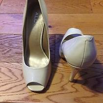 Aldo Shoes Open Toe Pumps - Wedding Cream / Ivory Patent Leather - Size 10 Photo