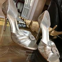 Aldo Silver Metallic Peep Toe Rhinestone Stiletto Faux Snakeskin Like Heels 37 7 Photo