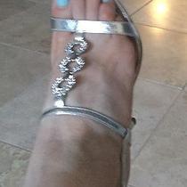 Aldo Silver Rhinestone  Strappy Heels Prom Wedding Dress Shoes Size 36 Photo