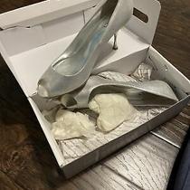 Aldo Silver Size 10 Peep Toe Heels Photo