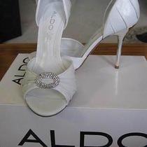 Aldo Silver & White Wedding Shoes - 4 Inch- Heel-  Size (Euro 37)6 1/2 Photo