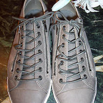 Aldo Size 11m Faux Gray Leather Athletic Shoes W/double Sided Zippers Pristine Photo
