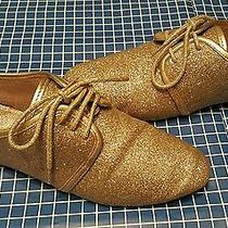 Aldo Size 38 B (8) Childres Women's Gold Flats Tennis Shoes Gold Glitter Photo