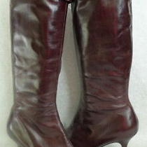Aldo Size 40 Mahogany Brown Leather Chain Detail Knee High Heel Boots Photo