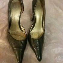 Aldo Size 6 Women's Black Patent Leather 3 Inch High Heels Pointed Toe Open Side Photo