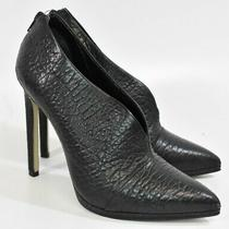 Aldo Size 8 Black Heeled Leather Bootie Style Heels Shoes Photo