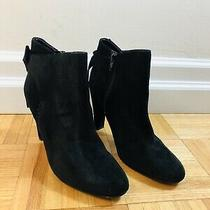 Aldo Size 8 Womens Black Suede Bow Zip-Up High Heeled Ankle Boots Booties Photo