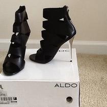Aldo Slit Leather Black Bootie W/ Chrome Heel  Size 39 Photo