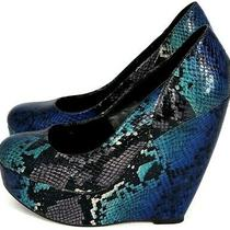 Aldo Snake Skin Print Platform Wedges Shoes Blue Black Green Gray Size Us 6.5 Photo