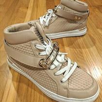 Aldo Sneakers 8.5 Side Zip Lace Up Pink / Rose Gold Trim Strap Hi Top Fashion Photo
