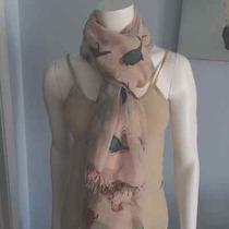Aldo Spring Gauze Scarf Boho Chic Bird Print Ballet Pink Photo