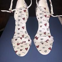 Aldo Stiletto Ankle Strap Heels Heart Eye Graphics White Sz 6.5 Photo