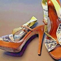 Aldo Suede Blue Yellow Strappy Slingback Open Toe Sandals Heels Shoe Size 7 / 37 Photo