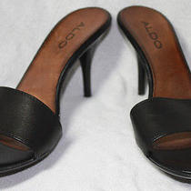 Aldo Sz 8 Stiletto Acrylic Heels Italy Black Leather - Excellent Photo