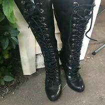 Aldo Tall High Heeled Leather Boots Size Euro Size 38 American Size 7 1/2 Photo