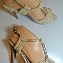 Aldo Tan Linen Gold T Strap Fabric Platform Sandals Heels Shoes Size 39 8.5  Photo