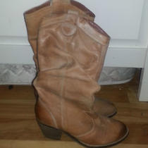 Aldo Tan Women Leather Cowboy Boots Size 8 Like New Photo