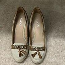 Aldo Wedge Brown Beige Shoes Heels Size 9 Photo