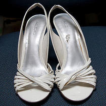Aldo White Leather and Acrylic Sandals/platforms/wedges Size 8 Photo