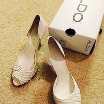 Aldo White Leather Women's Wedding Shoes Size 8.5 Photo