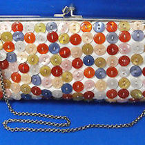 Aldo White Purse Clutch Tote W Multi Color Mother of Pearl Buttons Prom Formal Photo
