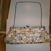 Aldo White Purse W/ Multi Colored Pastel Mother of Pearl Buttons Photo