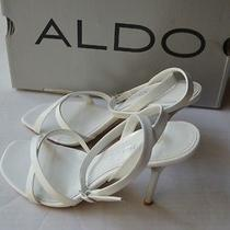 Aldo White/silver Heel Leather Wedding Shoes Size 7 Photo