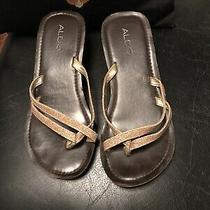Aldo Women Brown and Gold Flip Flops Sandals Eur 38 Good Condition Photo
