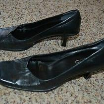 Aldo Women's Black Leather Square Toe Heels Pumps Size 38 Eur 8-8.5 Us Photo