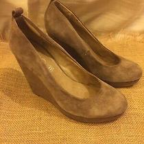 Aldo Women's Brown Suede Slip-on Wedge High Heels Size 7.5 Photo