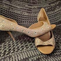 Aldo Women's Peep Toe All Over Rhinestones Blush Pump Heels Size 9 Photo