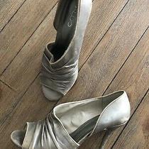 Aldo Women's Pump Shoes Vintage Pewter Slim Heels Peep Toe Leather Slip Ons  Photo