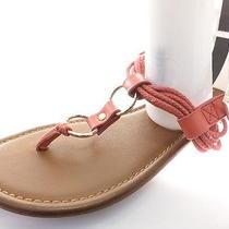 Aldo Women's Sandals Metal Gold Rings Orange Size 7 Photo