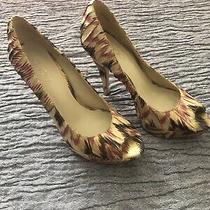 Aldo Women's Size 8 Leather Peep Toe Pumps High Heel Shoes Tan Purple Shimmer Photo