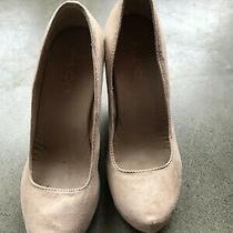 Aldo Women's Wedges High Heel Platform Size 38 Beige Suede Summer Sandals Shoes Photo