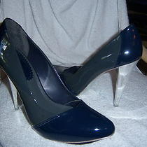 Aldo Womens 8 Shoe Gray Blue Patent Leather Heels Pumps Chrome Sexy Photo