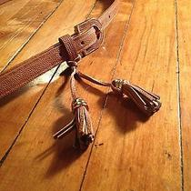 Aldo Womens Belt Brown Tassels Gold Trim Leather- Like - Like New Photo