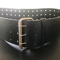Aldo Womens Black Faux Leather Belt Wide Silver Tone Buckle Size Medium Holes Photo