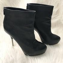 Aldo Womens Black Leather High Heel Stiletto Ankle Boots Eu 39 Us 8.5 Photo