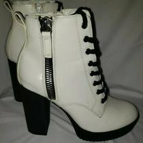Aldo Womens Black & White Bike Boots Size 8.5 Photo