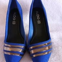 Aldo Womens Blue Suede Pointed Toe High Heel Pump Size 6.5  Photo