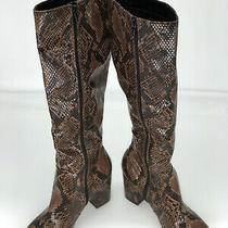 Aldo Womens Brown Snake Print Leather Heel Knee High Boots Size 8.5  Photo