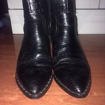 Aldo Womens Chelsea Cowboy Crocodile Pront Black Boots Size Us 6.5 Uk 4 Photo